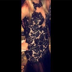 Sherri Hill long black dress with rhinestones